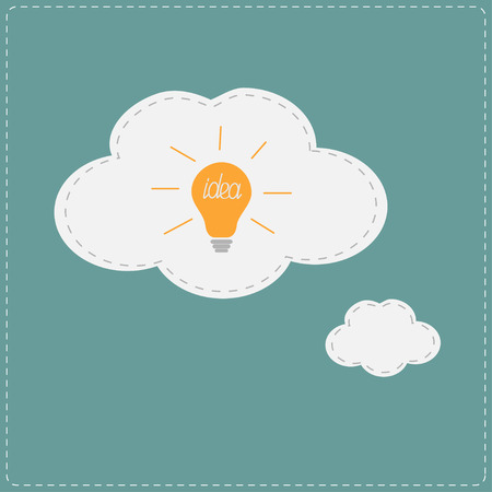 Idea light bulb in thought bubble cloud. Flat design. Vector illustration. Vector