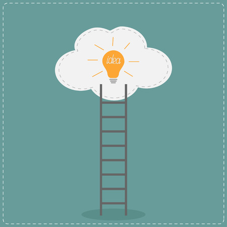 Ladder and cloud with idea light bulb. Success concept.  Flat design. Vector illustration. Vector