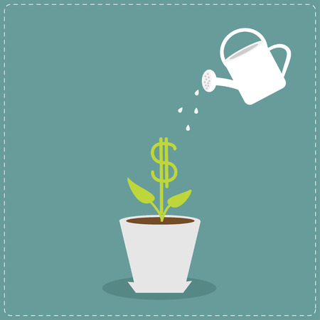 Dollar plant in the pot and watering can. Financial growth concept. Vector illustration. Vector