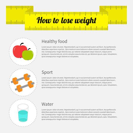 how: C�mo bajar de peso infograf�a. La comida sana, fitness deporte, el agua bebida. Ilustraci�n vectorial Vectores