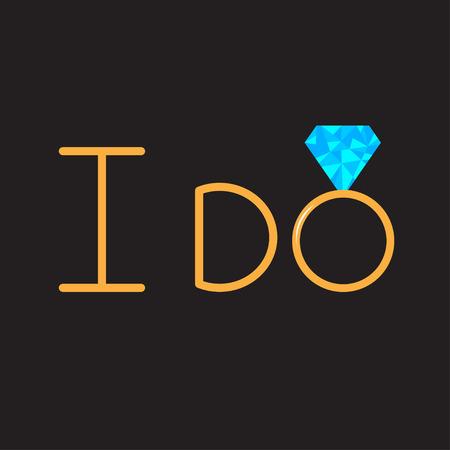 Ik doe. Gouden ring met blauwe diamant. Vector illustratie