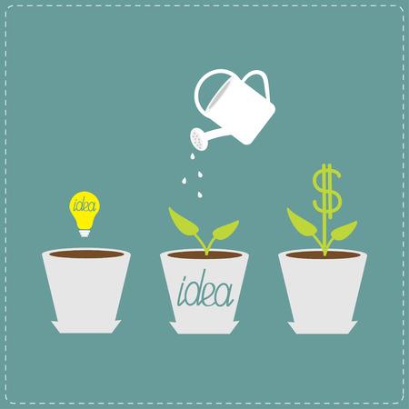 Financiële groei concept. Ideebol zaad, gieter, dollar plant. Plat ontwerp infographic. Vector illustratie. Stock Illustratie