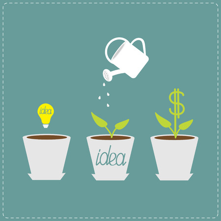 Financial growth concept. Idea bulb seed, watering can, dollar plant. Flat design infographic. Vector illustration. Ilustração