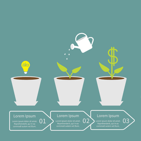 seed pots: Idea bulb seed, watering can, dollar plant in pot. Financial growth concept. Three steps. Business infographic. Vector illustration.