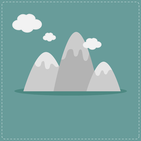 Mountain and clouds. Template. Flat design style. Vector illustration.
