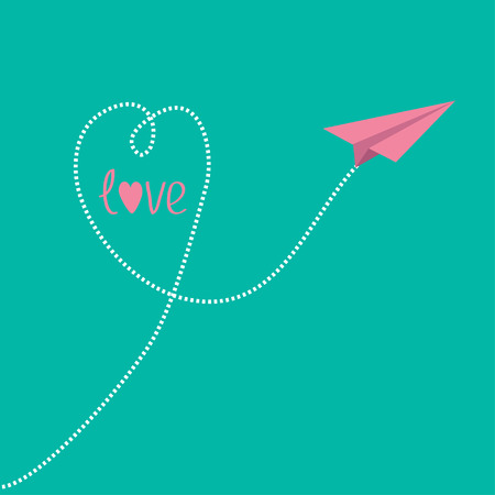 Origami pink paper plane with dash heart in the sky and word love. Vector illustration. Vector