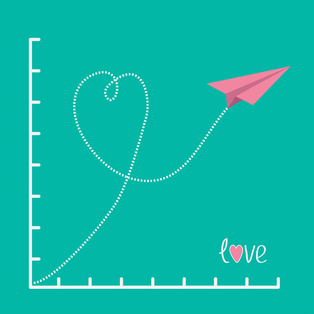Origami pink paper plane and scale. Love card. Flat design. Vector illustration. Vector