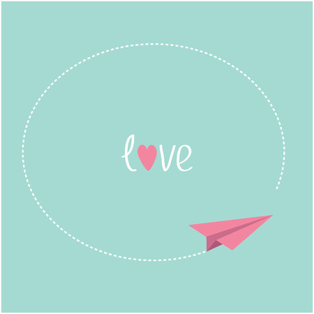 Pink origami paper plane. Round dash frame in the sky. Love card. Vector illustration. Vector