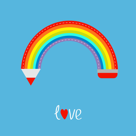 Colored pencil in shape of rainbow in the sky. Love card. Flat design. Vector illustration. Vector