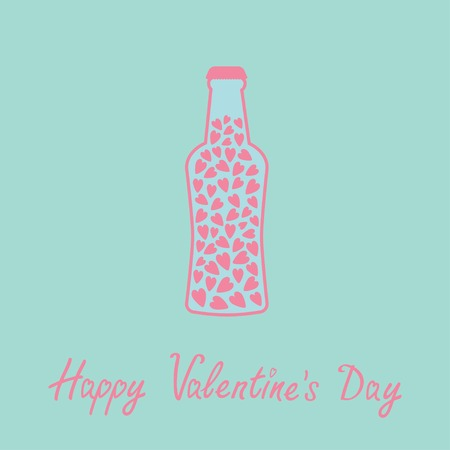 bung: Beer bottle with hearts inside. Blue and pink. Love card. Vector illustration.