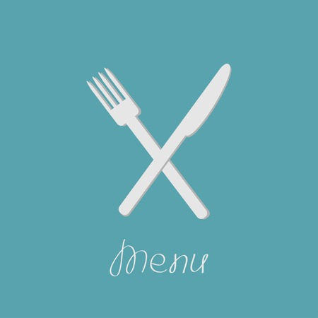 Cross silver fork and knife. Menu cover in flat design style Illustration