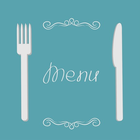 Silver fork and knife. Menu cover in flat design style