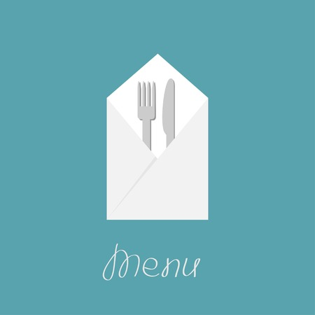 Silver fork knife and napkin Vector