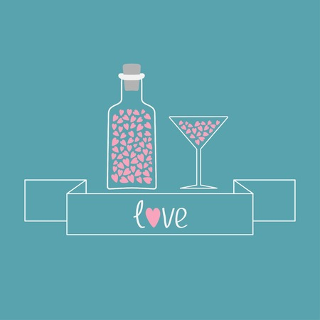 bung: Martini glass and bottle with hearts inside