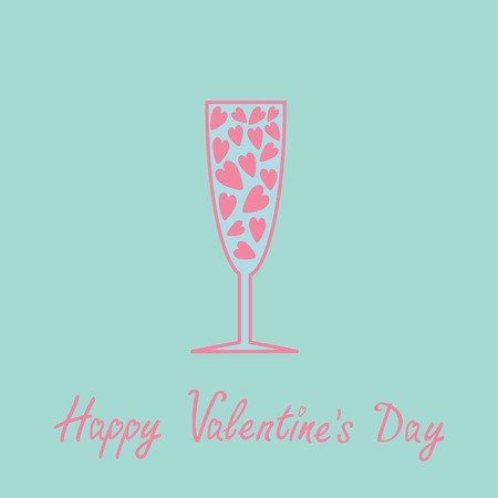 Champagne glass with hearts inside. Blue and pink. Card.  Vector