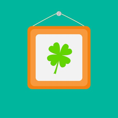 Four leaf clover and picture frame on the wall. Flat design.  Vector