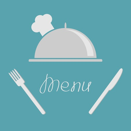 Silver platter cloche fork and knife. Menu cover flat design style.  Vector