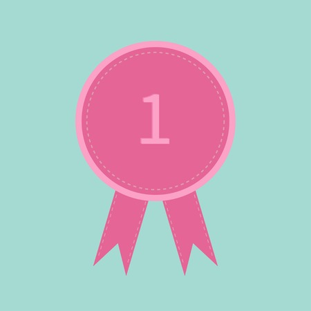 Badge with ribbons and number one . Award icon in flat design style. Dash line. Vector