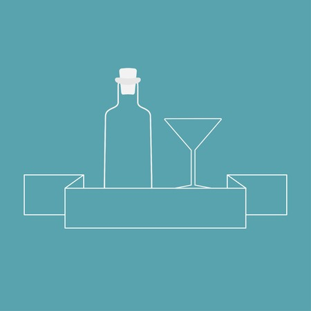 bung: Martini glass, bottle and ribbon contour. Illustration