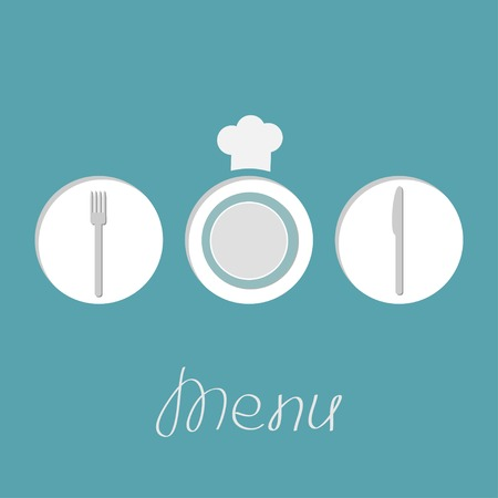 Plate silver fork knife and chef hat inside round frames. Menu cover in flat design style.  Vector