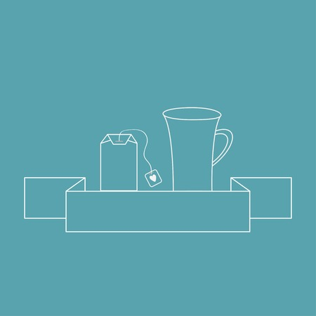 Contour teabag and teacup. Tea set in flat design style.  Vector