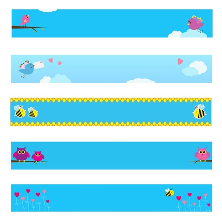 Banner set with bird, bee, owl and flowers.  Vector