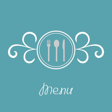 Silver fork, knife, spoon inside round calligraphic frame. Menu cover in flat design style.  Vector