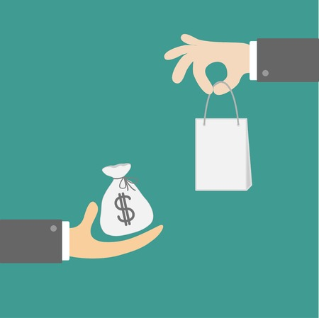 leasing: Hands with money and shopping bag. Exchanging concept. Flat design style.