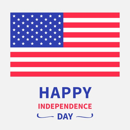 Happy independence day United states of America. 4th of July. White background.  Vector