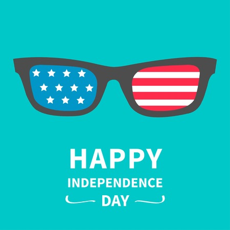 Glasses with stars and strips   Happy independence day United states of America  4th of July  Vector illustration  イラスト・ベクター素材