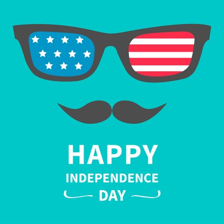 Glasses and mustaches. Happy independence day United states of America. 4th of July.  Vector