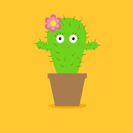 Cute cartoon cactus with eyes and flower in the pot. Flat design. Vector illustration Vector