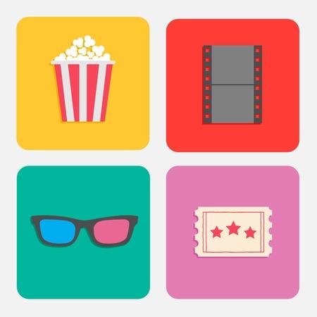 popcorn: 3D glasses, ticket, popcorn, film. Cinema icon set for web and mobile in flat dsign style. Vector illustration Illustration