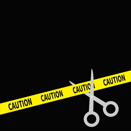 inaugural: Scissors cut caution ribbon on the right. Flat design style. Vector illustration