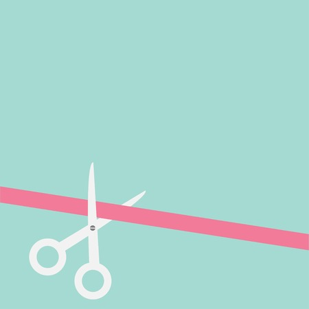 Scissors cut straight ribbon on the left. Flat design style. Vector illustration Vector