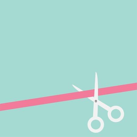 Schere gerade geschnitten Band auf der rechten Seite. Flache Design-Stil. Vektor-Illustration Standard-Bild - 29121821