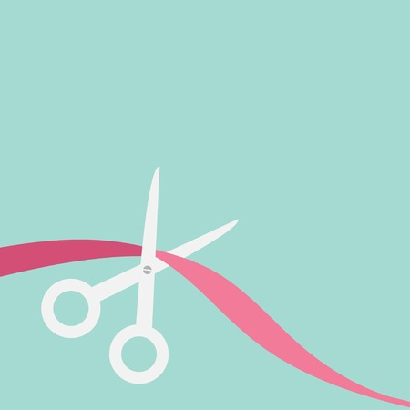 Scissors cut the ribbon on the left. Flat design style. Vector illustration