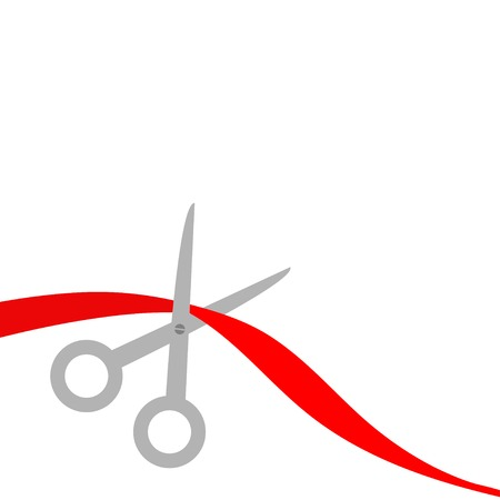 Scissors cut red ribbon on the left. Flat design style. Vector illustration