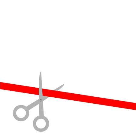 Scissors cut straight red ribbon on the left. Flat design style. Vector illustration Vector