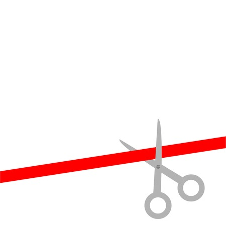 inaugural: Scissors cut straight red ribbon on the right. Flat design style. Vector illustration
