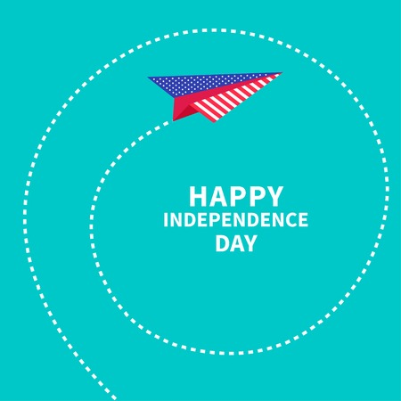 Paper plane with spiral. Dash line. Happy independence day United states of America. 4th of July. Vector illustration Vector