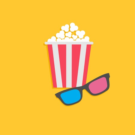 3D glasses and popcorn. Cinema icon in flat dsign style. Vector illustration Vector