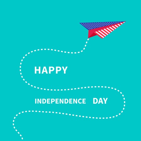 Paper plane with dash line. Happy independence day United states of America. 4th of July. Vector illustration Vector