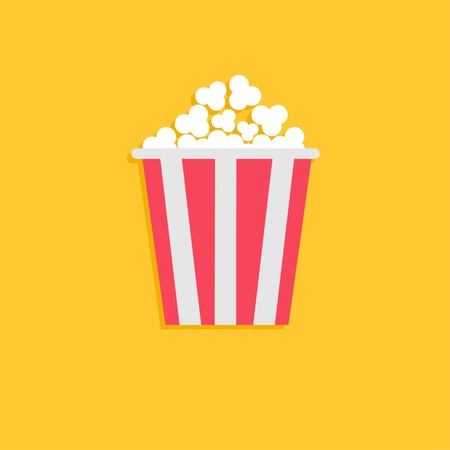 ポップコーン。平らな設計様式で映画アイコン。ベクトル イラスト