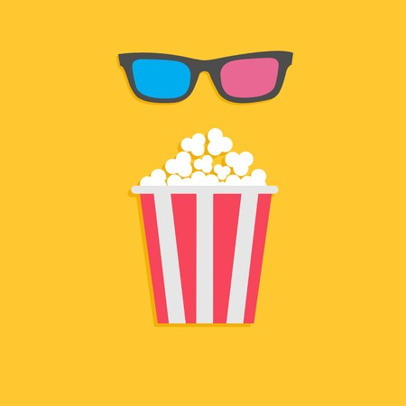 3D glasses and big popcorn. Cinema icon in flat dsign style. Vector illustration Vector