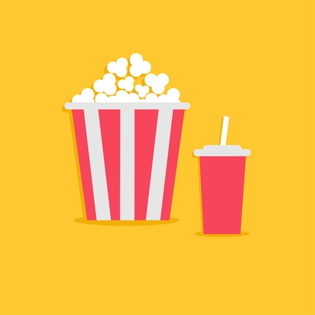 sweet corn: Popcorn and soda with straw. Cinema icon in flat dsign style. Vector illustration