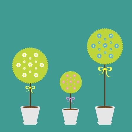 potting soil: Tree set with flowers in the pot. Flat design. Flat design. Vector illustration