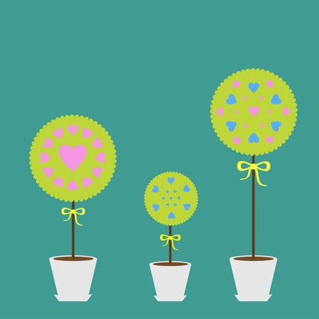 potting soil: Tree set with heart flowers in the pot. Flat design. Flat design. Vector illustration