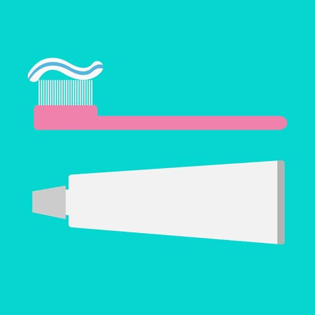toothpaste tube: Pink toothbrush and toothpaste tube. Flat design style. Vector illustration