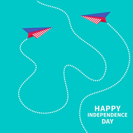 Two paper planes with dash line. Happy independence day United states of America. 4th of July. Vector illustration Vector